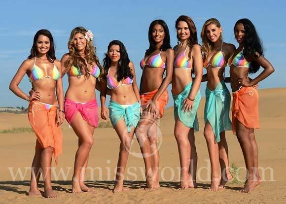 Candidatas a Miss Mundo 2012 na etapa Beach Fashion