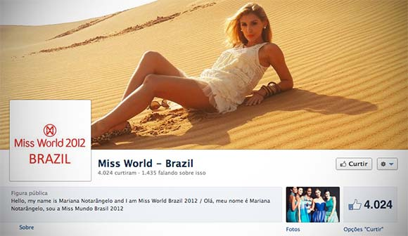 Página oficial da Miss Mundo Brazil para a etapa Multimedia Award
