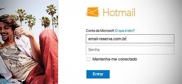 Crie um e-mail alternativo