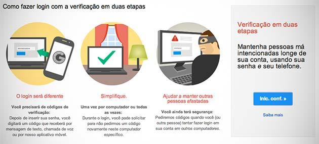 Verificação em duas etapas do Gmail
