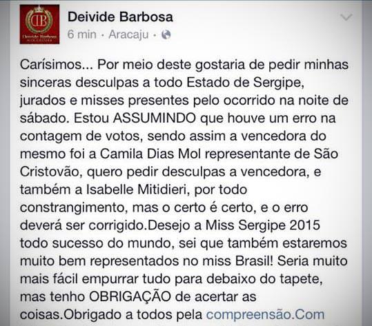 Comunicado Deivide Barbosa