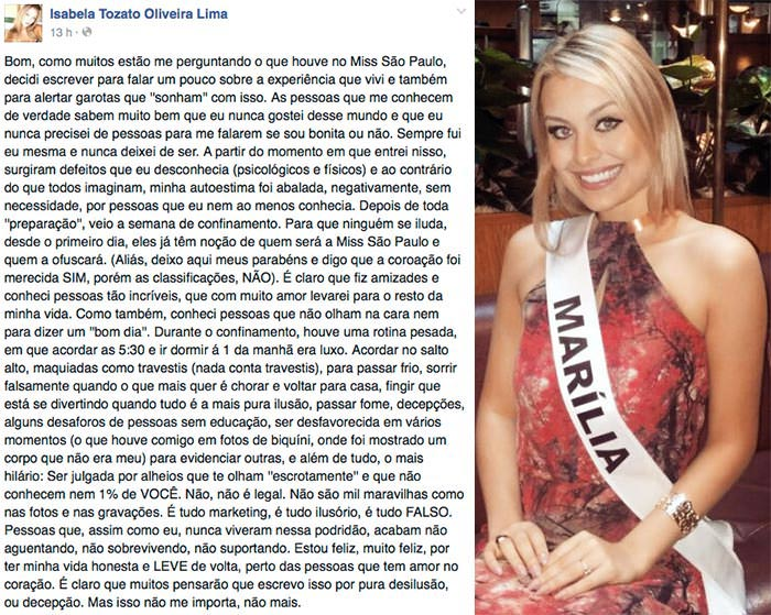 Desabafo da Miss Marília Isabela Tozato Oliveira Lima