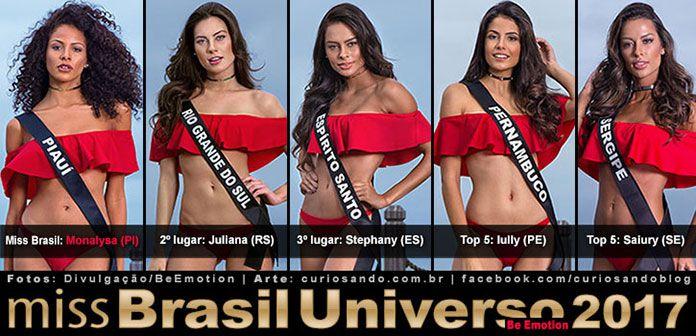 TOP 5 Resultado do Miss Brasil 2017