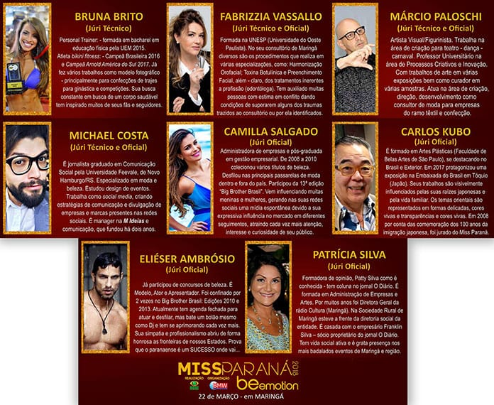 Jurados do Miss PR 2018