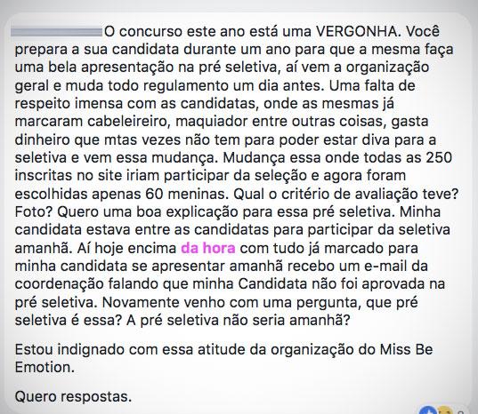 Reclamação no Miss São Paulo