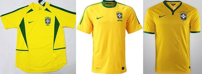 Camisas das Copas de 2002 2010 e 2014