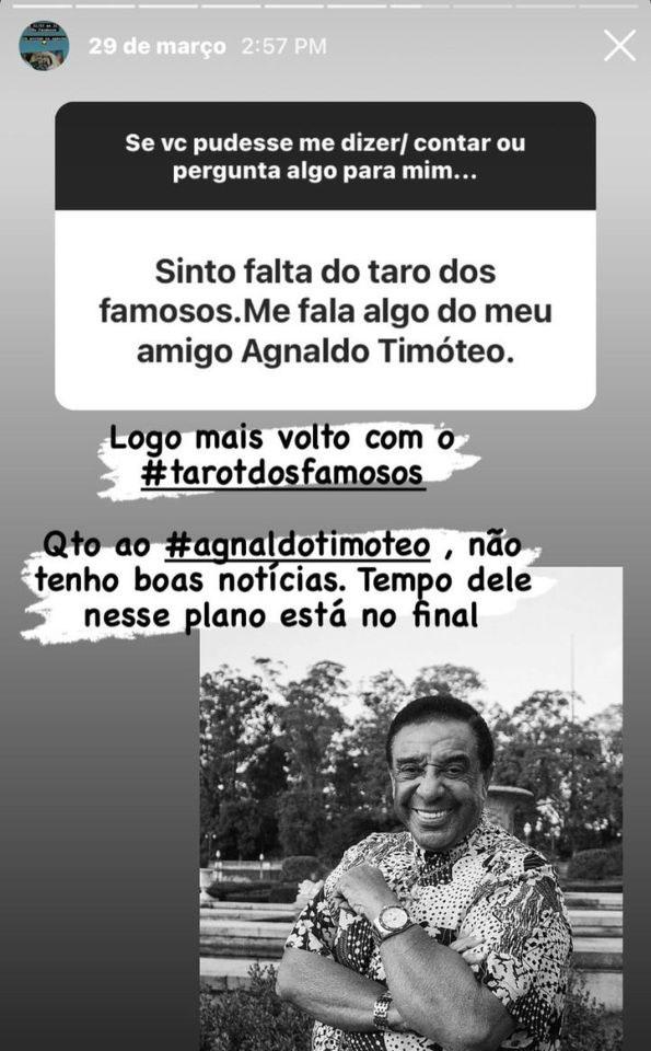 Print da previsão do Agnaldo Timóteo
